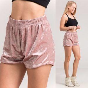 NEW Mauve Pink Velvet Shorts